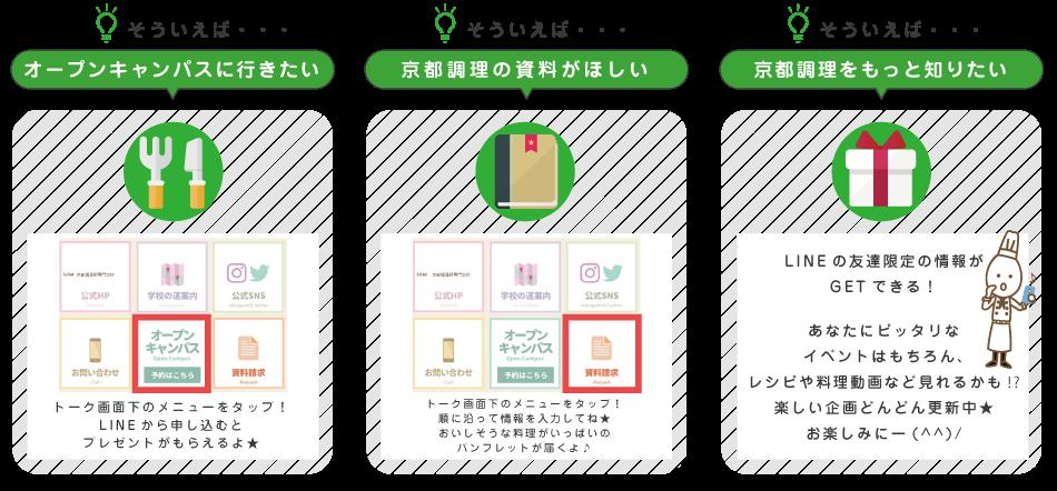 「オープンキャンパスに行きたい」「京都調理の資料が欲しい」「京都調理をもっと知りたい」LINEなら簡単に申込みや質問ができます。